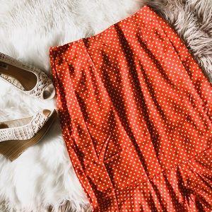 Dresses & Skirts - NWT Orange and White Midi Skirt